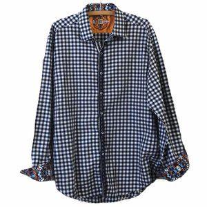 Robert Graham Blue Check Flip Cuff Shirt Size XL